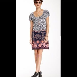 Lucky Brand Elephant Print Shift Dress Size M